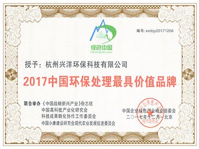 2017中国环保处理最具价值品牌